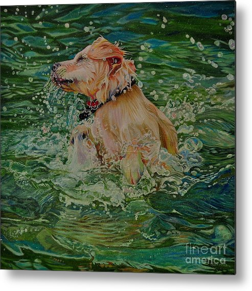 Golden Retriever Metal Print featuring the painting The Emerald Dance by Kelly McNeil