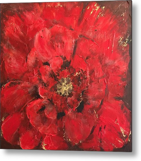 Floral Metal Print featuring the painting The First Red Poppie. by Melanie Stanton
