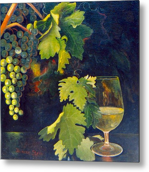 Wine Glass Metal Print featuring the painting The Fruit Of The Vine by Jeanene Stein
