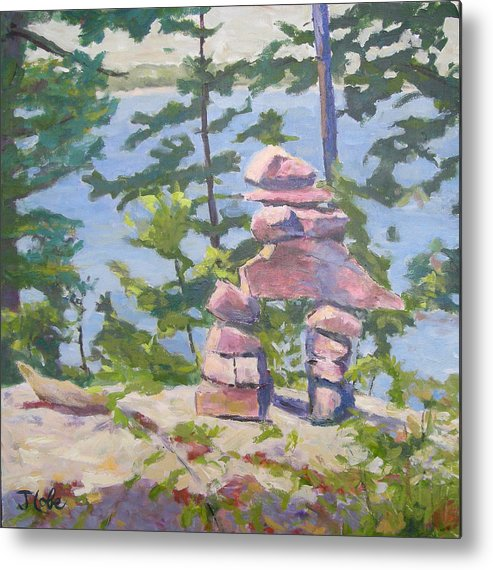 Cairn Metal Print featuring the painting The Right Path by Jude Lobe