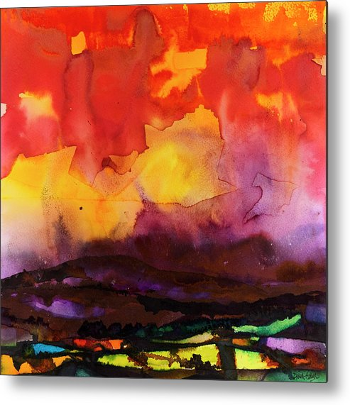 Watercolours Metal Print featuring the painting The Yellow Cloud by David Evans
