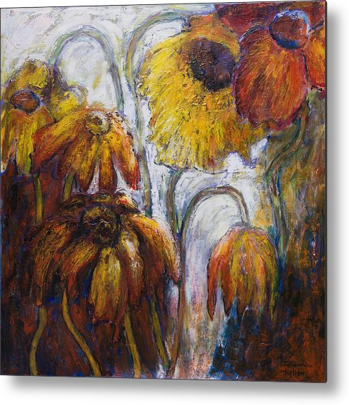 Flowers Metal Print featuring the painting Through The Looking Glass by Jeremy Holton