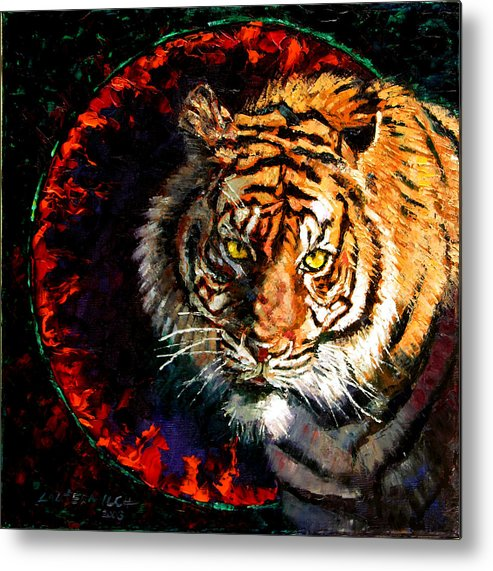 Tiger Metal Print featuring the painting Through The Ring Of Fire by John Lautermilch