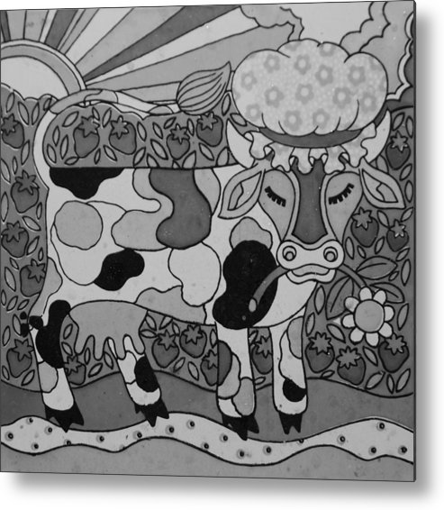 Pop Art Metal Print featuring the photograph Tile Cow by Rob Hans