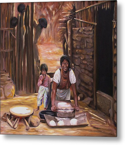 Mexican Metal Print featuring the painting Tortillas De Madre by Nancy Griswold