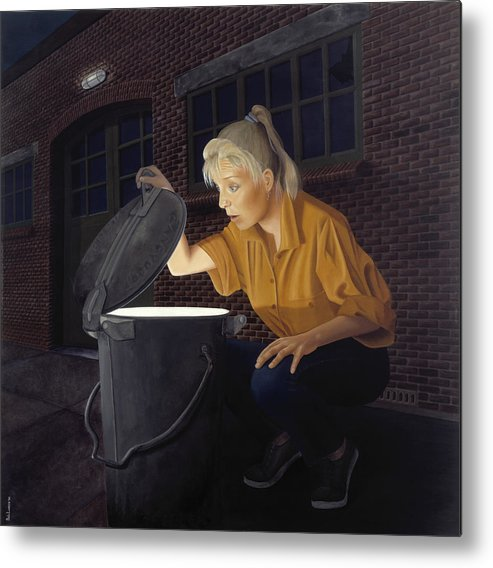 Architecture Metal Print featuring the painting Trash Bin by Patricia Van Lubeck