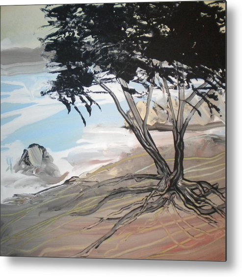 Alzheimer's Metal Print featuring the painting Tree By The Sea By Betty by Art Without Boundaries