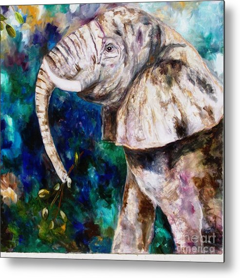 African Elephant Metal Print featuring the painting Trouble by Pamela Squires