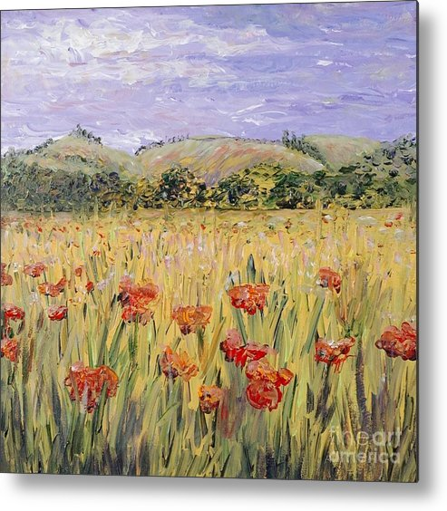 Poppies Metal Print featuring the painting Tuscany Poppies by Nadine Rippelmeyer