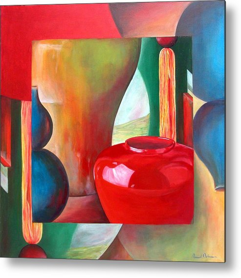 Still Life Metal Print featuring the painting Vases by Muriel Dolemieux