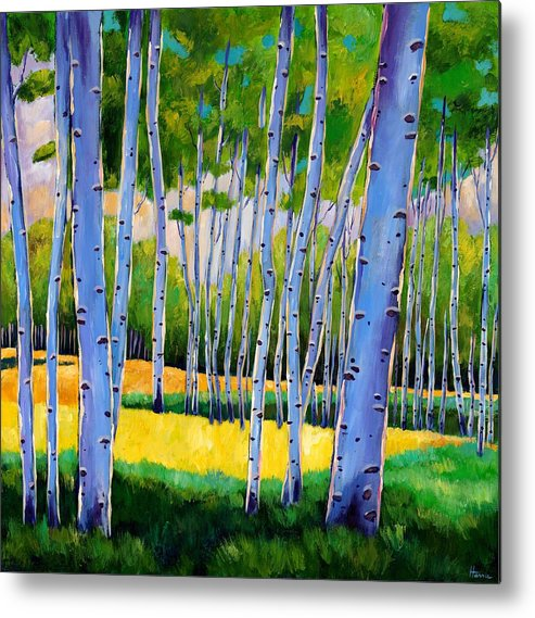 Landscapes Metal Print featuring the painting View Through Aspen by Johnathan Harris