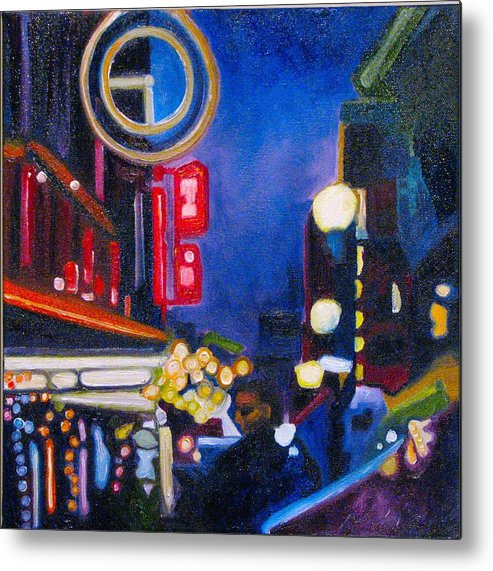 Night Scene Metal Print featuring the painting Wandering At Dusk by Patricia Arroyo