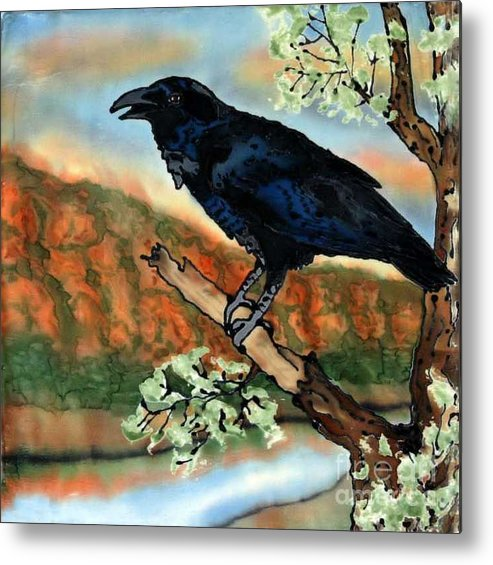 Silk Painting Metal Print featuring the painting Watching The Sunset by Linda Marcille