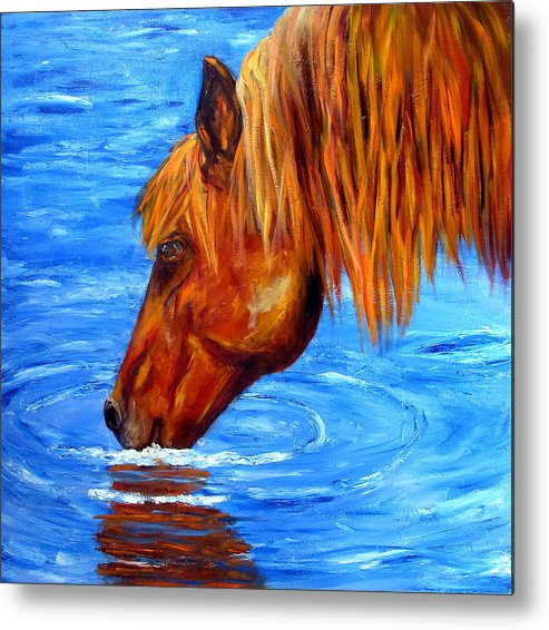 Horse Metal Print featuring the painting Watering Hole Horse Painting by Mary Jo Zorad