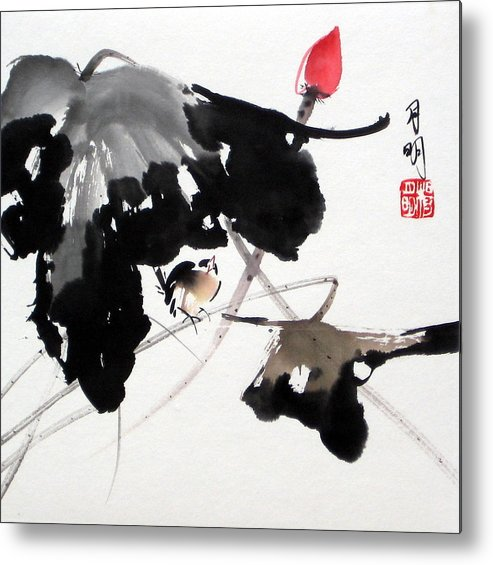 Chinese Painting Metal Print featuring the painting Whistling Under The Shade by Ming Yeung