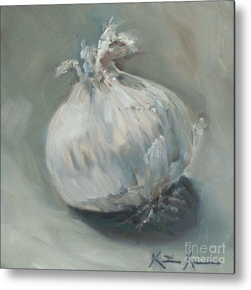 Onion Metal Print featuring the painting White Onion No. 1 by Kristine Kainer