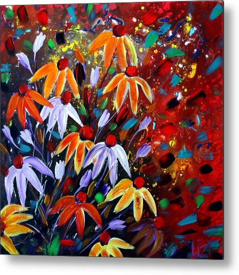 Flowers Metal Print featuring the painting Wildflowers At Sunset by Luiza Vizoli