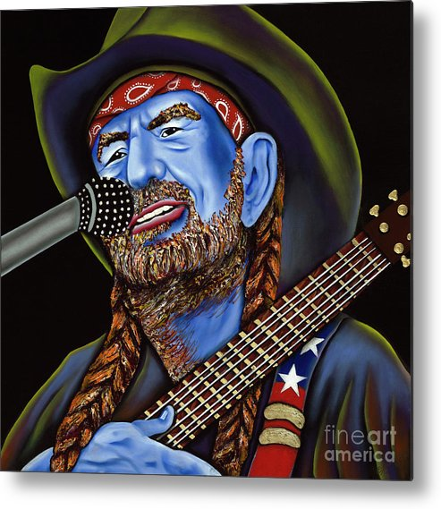Portrait Metal Print featuring the painting Willie by Nannette Harris
