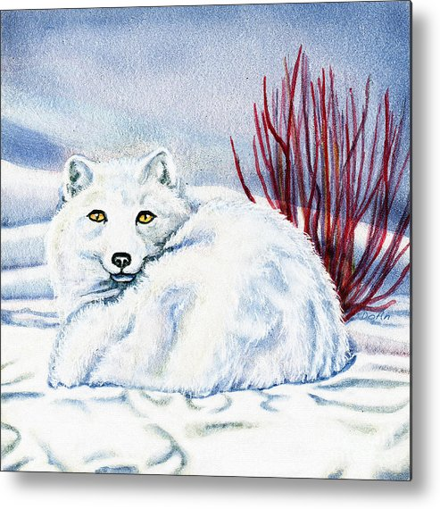 Winter Metal Print featuring the painting Winter Fox by Antony Galbraith