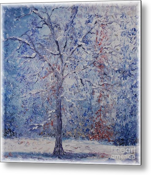 Winter Metal Print featuring the painting Winter Trees by Nadine Rippelmeyer