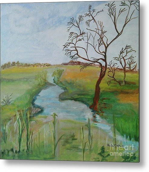 River Nene Metal Print featuring the painting Winters End by Paula Maybery
