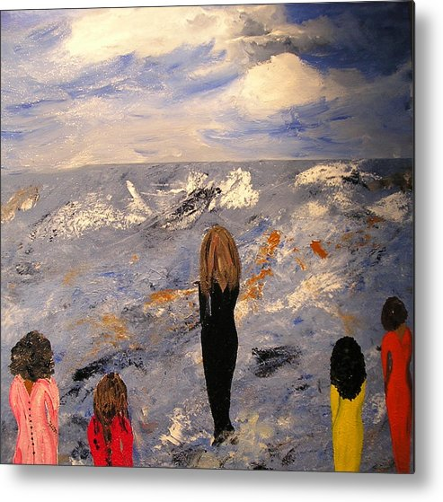 Women Togetherness Strength Feminine Empowerment Blue Abstract Metal Print featuring the mixed media Women 'n Waves by Sher Green