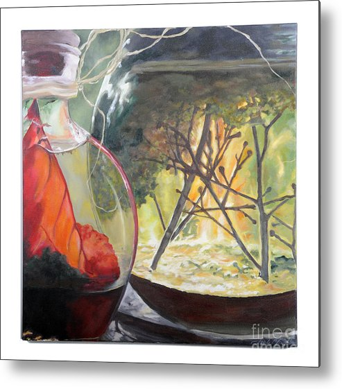 Globe Metal Print featuring the painting Wooded Terrarium by Lynda McLaughlin