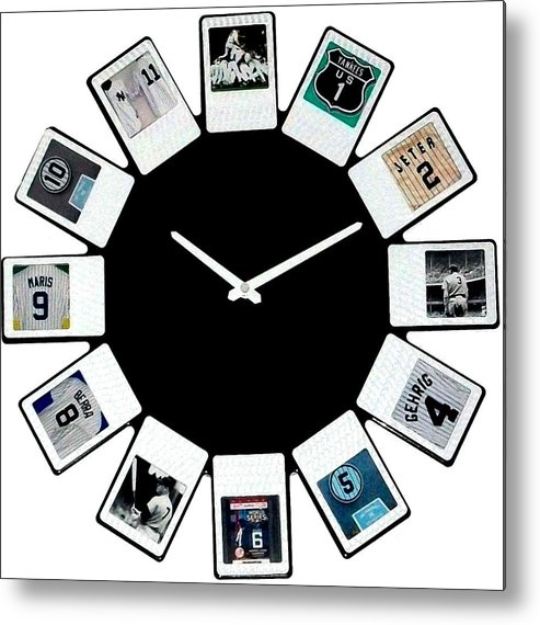 New York Metal Print featuring the mixed media yankees Clock by Paul Van Scott