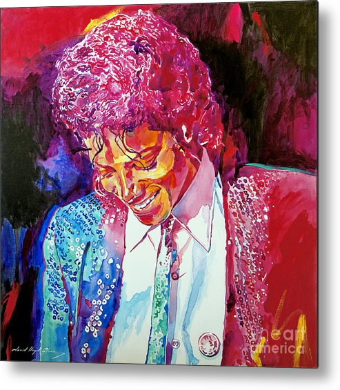 Michael Jackson Metal Print featuring the painting Young Michael Jackson by David Lloyd Glover
