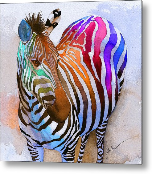 Colorful Metal Print featuring the painting Zebra Dreams by Galen Hazelhofer