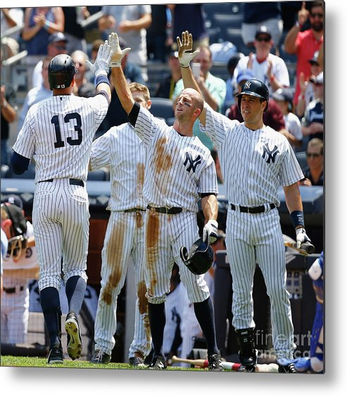 People Metal Print featuring the photograph Kansas City Royals V New York Yankees by Al Bello
