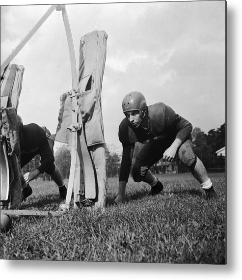 Sports Helmet Metal Print featuring the photograph Football Training by Barry