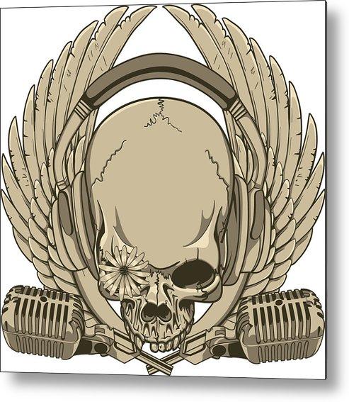 Goth Metal Print featuring the digital art Heavy Metal Skull by Passion Loft