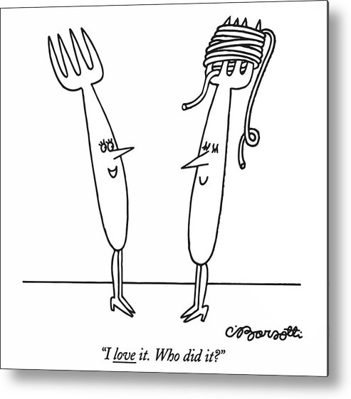 Women Metal Print featuring the drawing I Love It. Who Did It? by Charles Barsotti