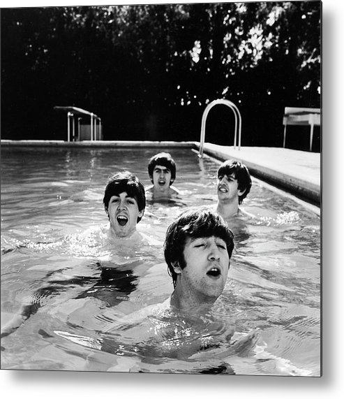 Singer Metal Print featuring the photograph L-r Paul Mccartney, George Harrison by John Loengard