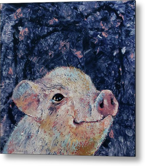 Pig Metal Print featuring the painting Micro Pig by Michael Creese