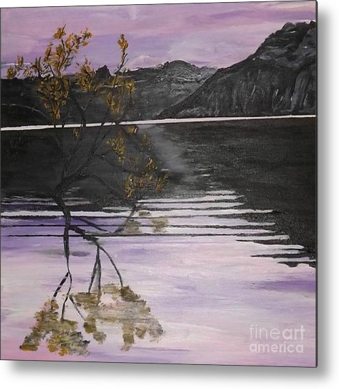 Landscape Metal Print featuring the painting Mountain Pass by Denise Morgan