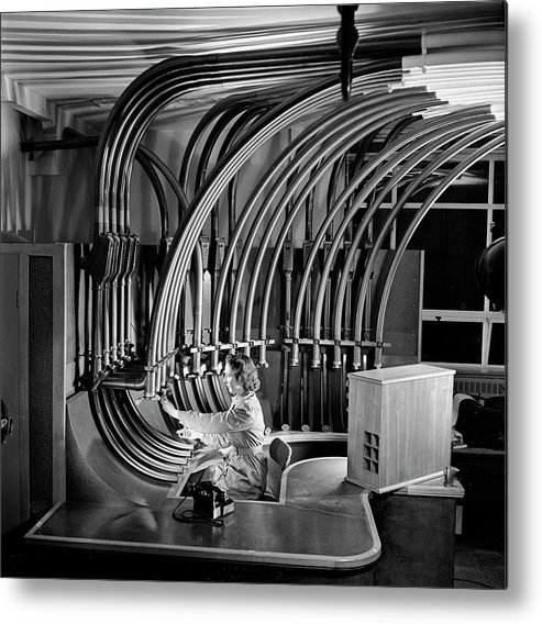 People Metal Print featuring the photograph Secretary With Pneumatic Tube by Walter Nurnberg