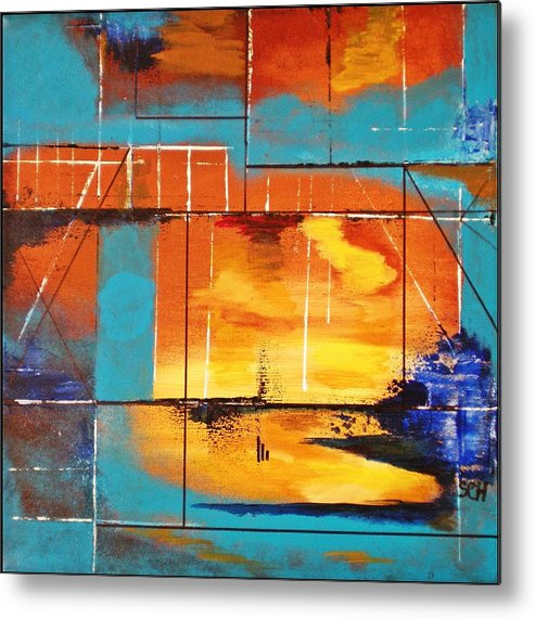 Abstract Metal Print featuring the painting Sweet Light Of Dawn - Or - Windows To Illusion by Scott Haley