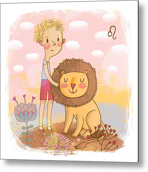 Symbol Metal Print featuring the digital art Zodiac Sign - Leo. Part Of A Large by Smilewithjul