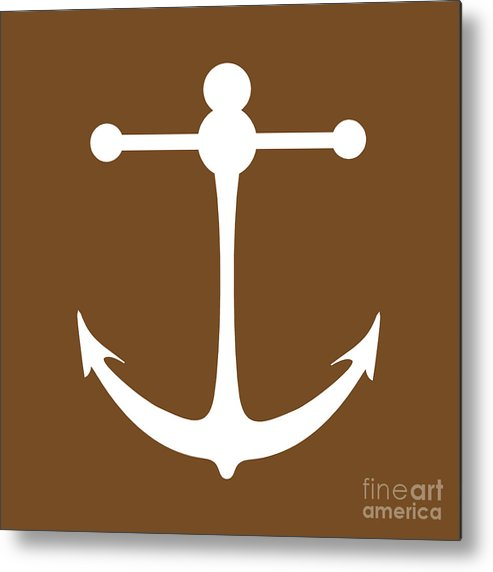 Graphic Art Metal Print featuring the digital art Anchor In Brown And White by Jackie Farnsworth