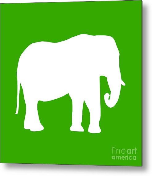 Graphic Art Metal Print featuring the digital art Elephant In Green And White by Jackie Farnsworth
