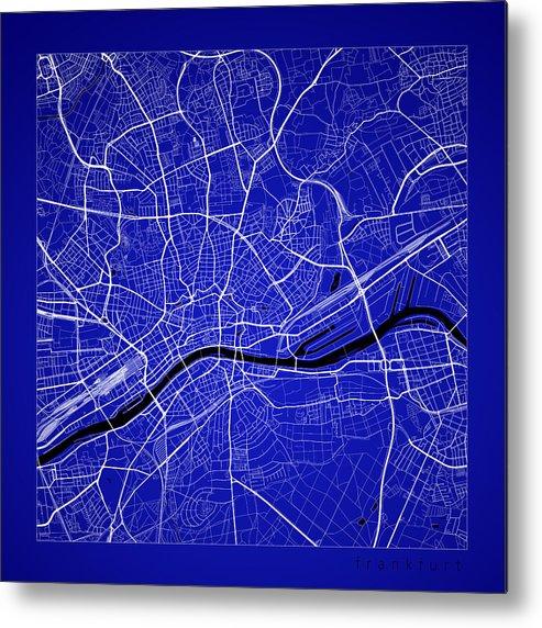 Frankfurt Street Map - Frankfurt Germany Road Map Art On Color Metal ...
