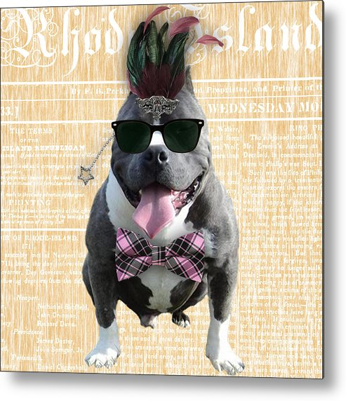 Pitbull Metal Print featuring the mixed media Pitbull Bowtie Collection by Marvin Blaine