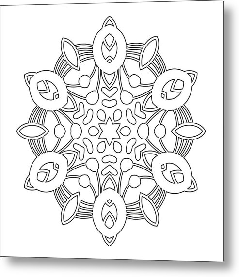 Round Ornament For Coloring Books Black White Pattern Lace Snowflake Metal Print