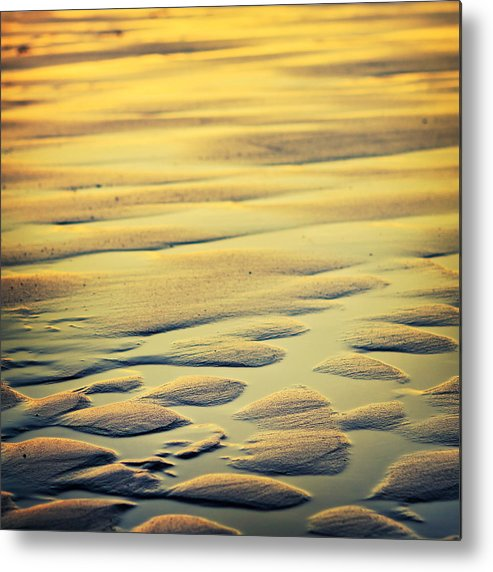 Nature Metal Print featuring the photograph Rythm On Sand With Wave On Sea Coast At Sunset Color by Raimond Klavins
