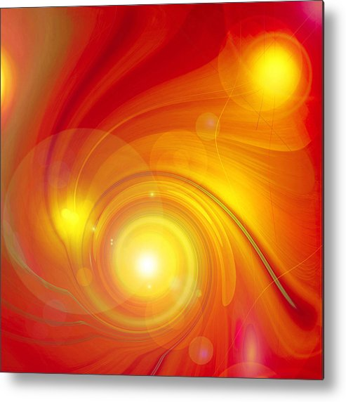 Artdeco Metal Print featuring the digital art Orange Energy-spiral by Ramon Labusch