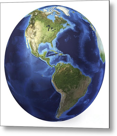 Relief Map Metal Print featuring the digital art 3d Rendering Of Planet Earth, Centered by Leonello Calvetti