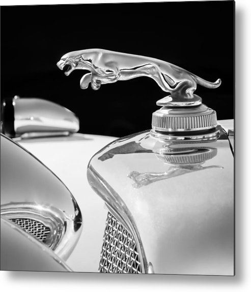 1937 Jaguar Prototype Hood Ornament Metal Print featuring the photograph 1937 Jaguar Prototype Hood Ornament -386bw55 by Jill Reger