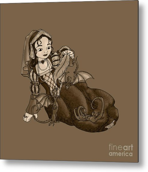 Lady Merewald Pet Pets Dragon Dragons Lizards Fantasy Reptile Princess Noble Nobility Royal Royalty Woman Female Play Playful Playing Cute Baby Small Infant Little Gown Dress Metal Print featuring the digital art Lady Merewalds Pets by Thedustyphoenix